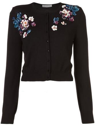 cardigan women embellished floral black wool sweater