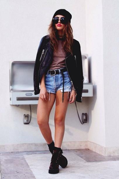 jacket leather jacket outfit cool grunge style black