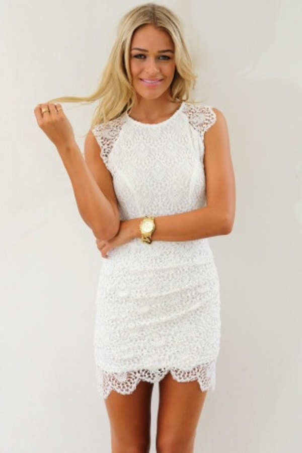 dress white lace cap-sleeve