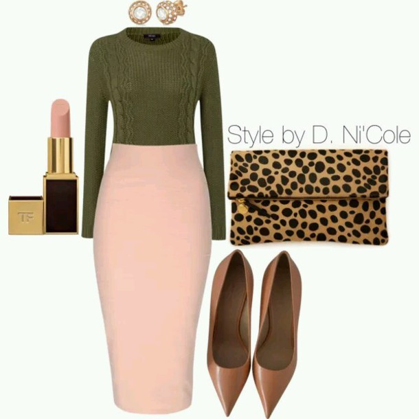 skirt forest green jewels sweater shoes bag make-up