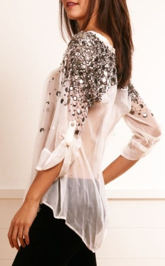 shirt blouse white jeweled sparkles cute loose sequin shirt sequins glitter glitter top floral white sheer flowy