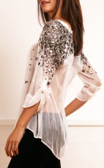 sequin shirt blouse sequins glitter glitter top floral ,blouse, lace, white, sheer, flowy, shirt white, lace,blouse, bow, cute shirt white jeweled sparkles cute loose