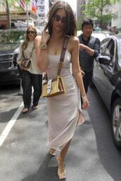 shoes,sandals,dress,midi dress,summer dress,summer outfits,emily ratajkowski,purse,model off-duty