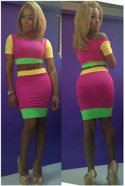Contrast Color Celebrity Dress 2014 New Arrival Patchwork High Waist Knee LengthTwo Piece Bodycon   Amazing Shoes UK