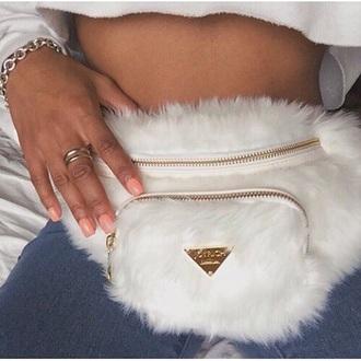bag white fanny pack white belt bag fur bag fluffy bag fluffy givenchy streetwear street fashion weird hipster grunge tumblr fanny pack givenchy bag fur