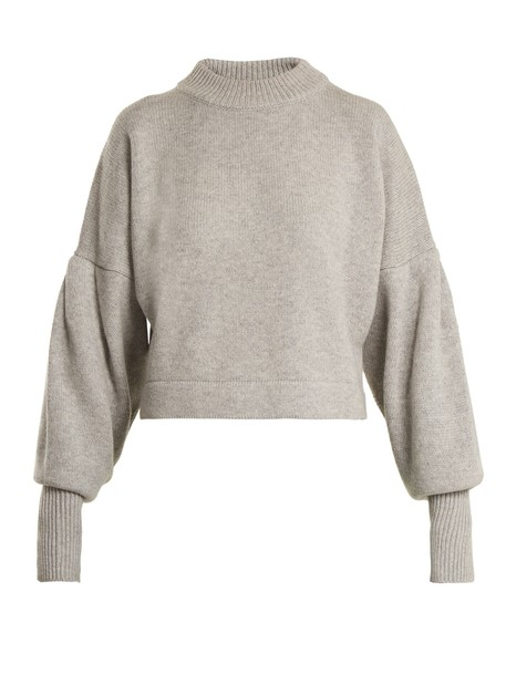 Tibi sweater cropped sweater pleated cropped grey
