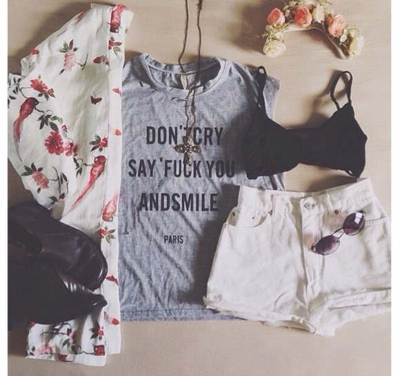 sweater shorts shirt white top cute shoes vintage sunglasses clothes style black t-shirt bra fashion cardigan headband floral birds