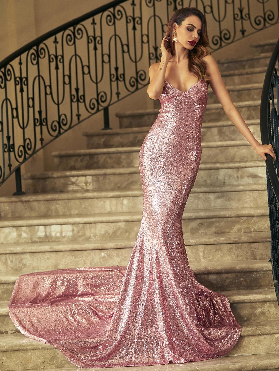 4f8ae725af Pink Crisscross Back Fishtail Sequin Dress -SheIn(Sheinside)