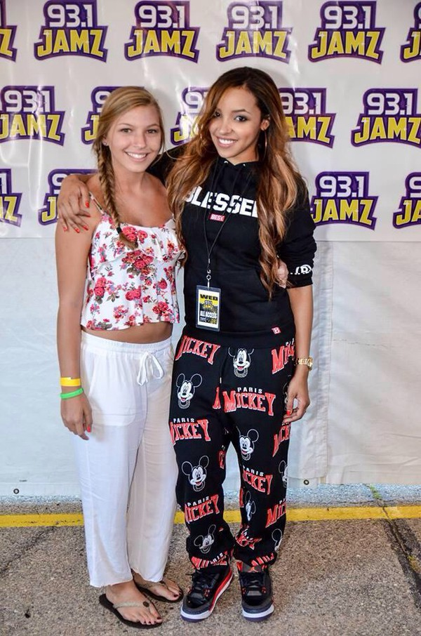 tinashe black mickey mouse red shoes pants sweater
