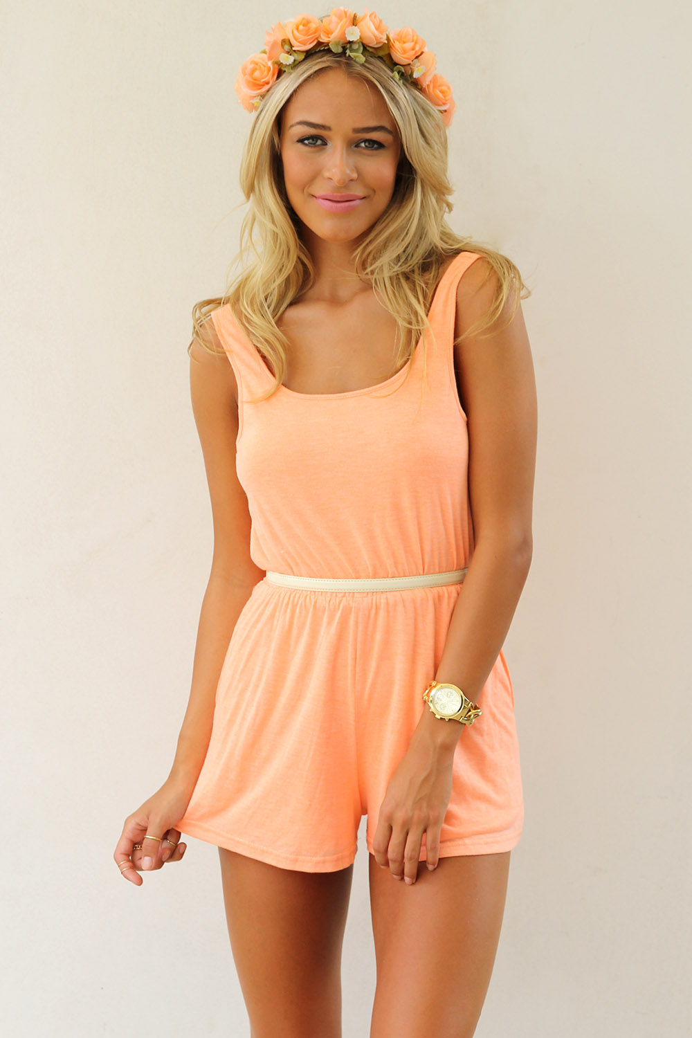Orange Jump Suits/Rompers - Peach Sleeveless Mini Playsuit with | UsTrendy