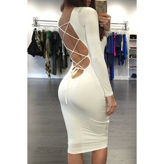 dress sexy open back criss cross long sleeves sexy jewel neck long sleeve backless women's lace-up dress bodycon party summer clothes strappy