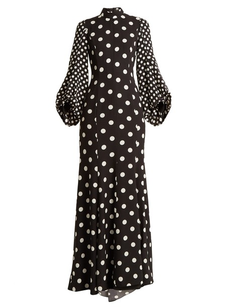 ANDREW GN gown high print silk white black dress