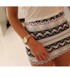 blue aztec print white skirt