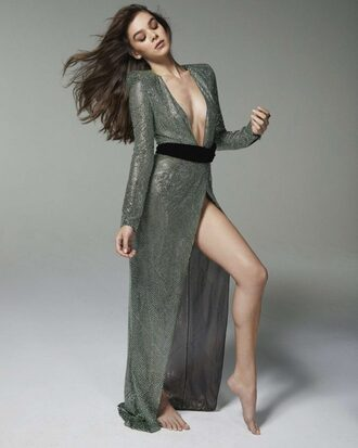 dress hailee steinfeld gown prom dress plunge dress sexy dress metallic editorial wrap dress maxi dress