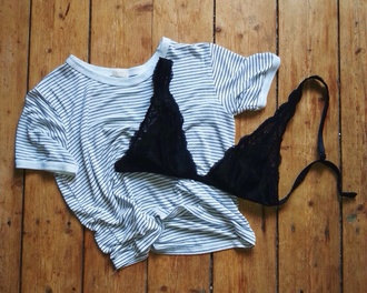 stripes striped shirt navy crop tops white underwear bra mariniere
