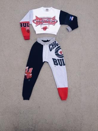 sweater chicago bulls matching set pants sweatpants joggers crewneck vintage nba shirt dope fashion cropped hoodie long sleeve crop top cropped sweater jogging suit jogging set