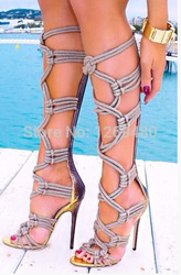 Online Shop Rope Heels gladiator knee high summer boots sandals 2014 so sexy shoes |Aliexpress Mobile
