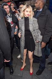 coat,tartan coat,selena gomez,red shoes