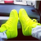 shoes,neon,like,green,sneakers,high top sneakers,lime,lime green sneakers