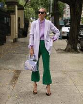 jacket,blazer,lilac,blouse,flare pants,heart sunglasses,pumps,leopard print,handbag,chain necklace