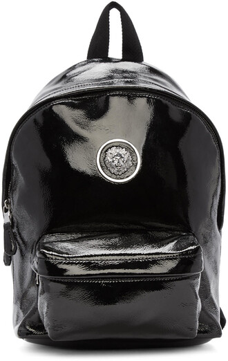 backpack leather black bag