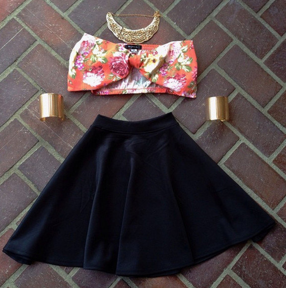 bow top tank top floral bow top skater skirt velvet skirt skater velvet skirt black velvet gold necklace gold arm cuff arm cuffs gold arm cuffs bow bikini floral tank top