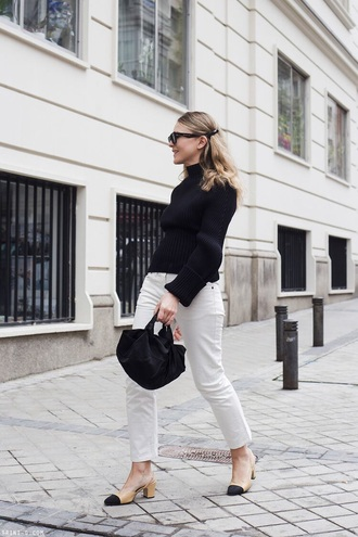 sweater black sweater knit turtleneck white jeans shoes sunglasses jeans denim