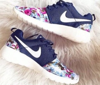 shoes nike nike running shoes nike shoes floral navy blue women