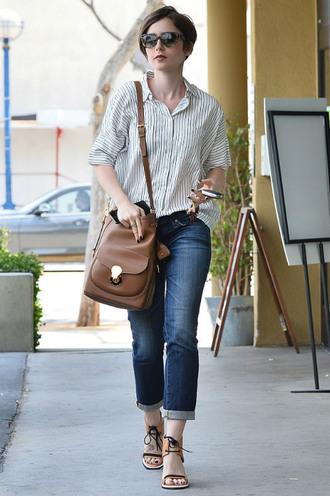 shoes sandals shirt lily collins purse jeans