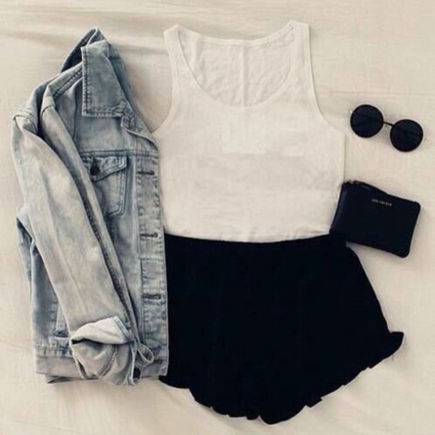 shorts top outfit