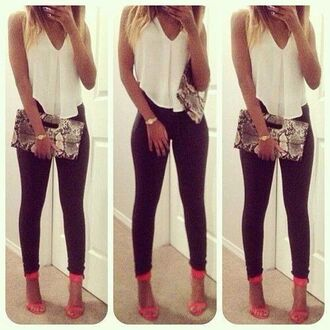 shirt pants shoes bag clutch snake skin print t-shirt blouse