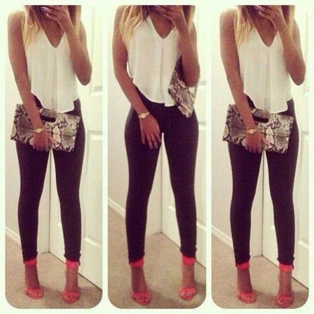 shirt pants shoes bag clutch bag snake skin print