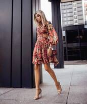 dress,mini dress,ruffle dress,floral dress,high heel sandals,mini bag,long sleeve dress,zimmermann,sandal heels,bag,fendi