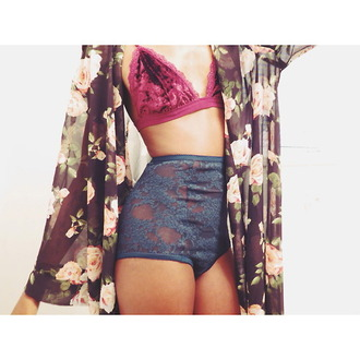 underwear blue lace seethrough underwear magenta velvet bra kimono floral