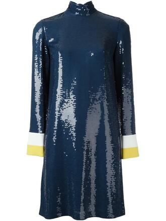 dress high high neck blue
