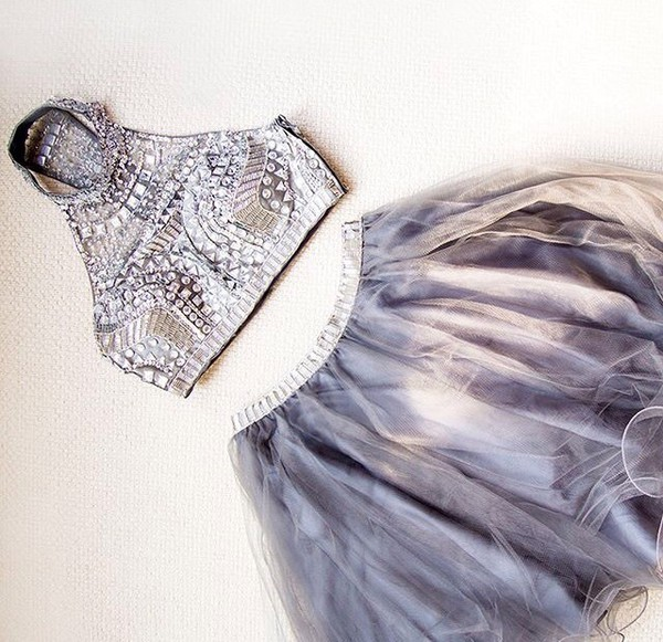 Aliexpress.com : Buy 2 pieces prom dresses crystals prom dress short ...