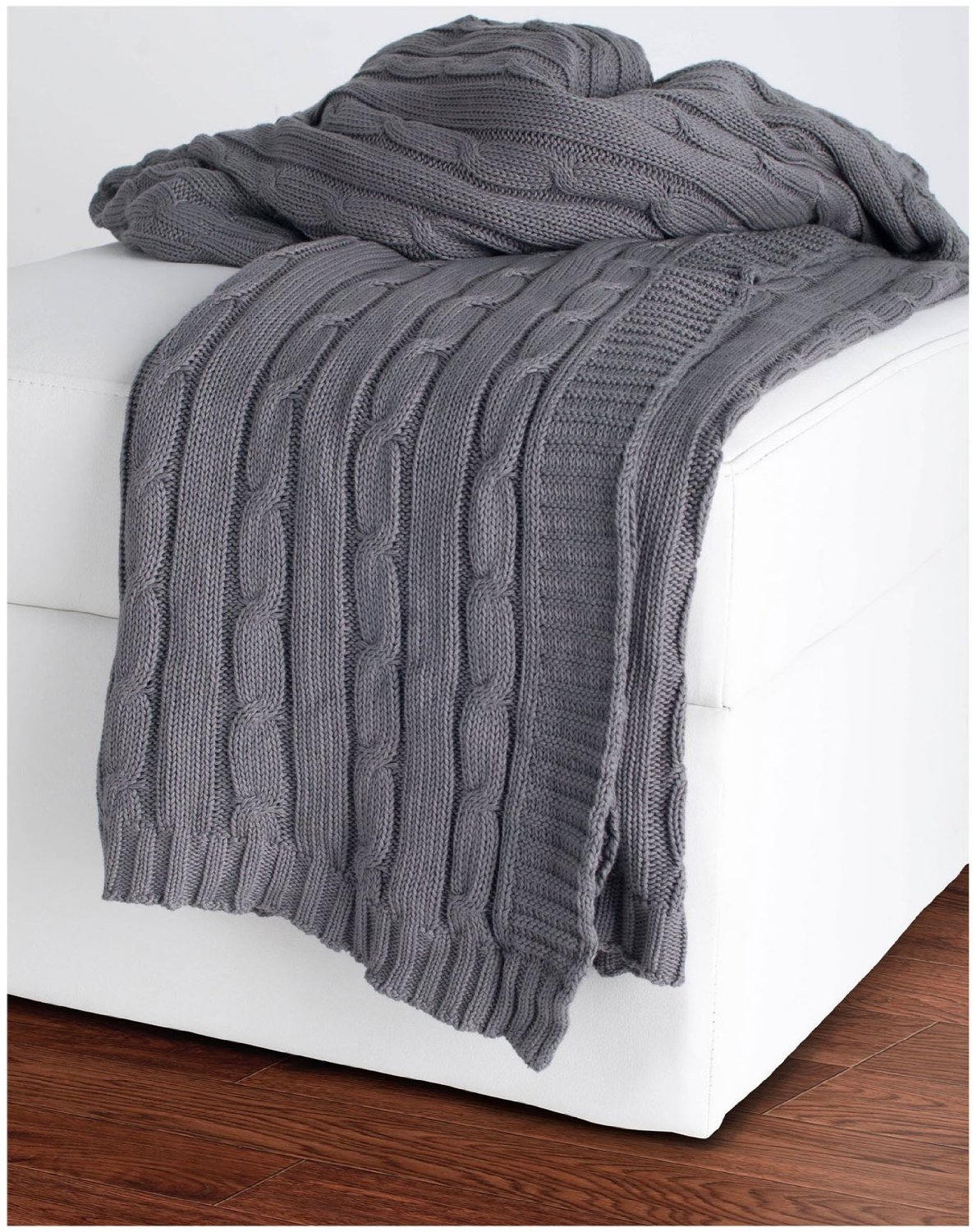 com - Rizzy Home Cable Knit Sweater Fabric Throw, Light Gray/Lt ...