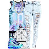 shirt,jordans,high waisted jeans,floral jersey,bag,mcm,mcm bag,mcm backpack,jersey,basketball jersey,galaxy print,distressed high waisted jeans,acid wash,acid wash jeans,distressed denim,gold,gold chain,golden jewlery,iphone,blue,pink,purple,green,grey,white,jeans,ripped jeans,sneakers,backpack,school outfit,dope,urban,back to school,bold color,laid back style,high school style