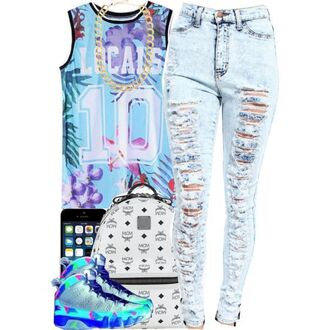 shirt jordans high waisted jeans floral jersey bag mcm mcm bag mcm backpack jersey basketball jersey galaxy print distressed high waisted jeans acid wash acid wash jeans distressed denim gold gold chain golden jewlery iphone blue pink purple green grey gray white jeans ripped jeans sneakers backpack school outfit dope urban back to school bold color laid back style high school style