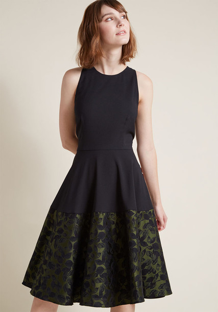1577 skirt sleeveless racerback jacquard black green