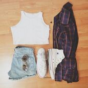 sweater,hipster,shirt,shorts,summer,shoes,jacket,tank top,crop tops,white crop too,converse,faded blue shorts,plaid flannel,light blue shorts,white converse,retro sunglasses,round,checked shirt,blouse,checkered shirt,white crop tops,white croptop flannel,top,white top,sleeveless top,white,High waisted shorts,flannel,sunglasses,cardigan,light washed denim,crop,tumblr,sleevless,cardign,jeans,jewels