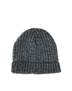 ASOS | ASOS Mixed Knit Short Rib Knit Beanie at ASOS