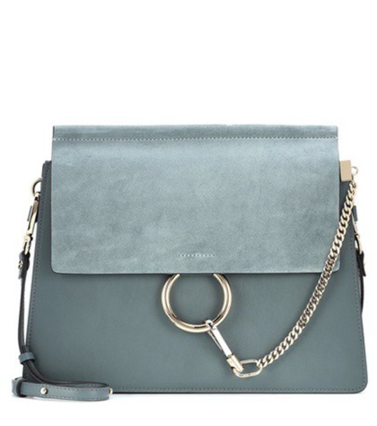 Chloe bag shoulder bag leather suede blue