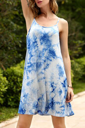 dress,zaful,tie dye,blue,skater dress,summer,hippie,girly,ombre,boho dress,white