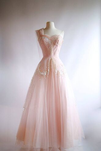 dress vintage 1950s one strap light pink embellished dress flowy prom dress