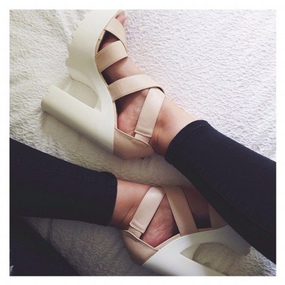 shoes nude sandals chunky heels platform high heels platform sandals