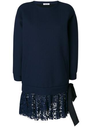 dress sweatshirt dress women lace blue wool