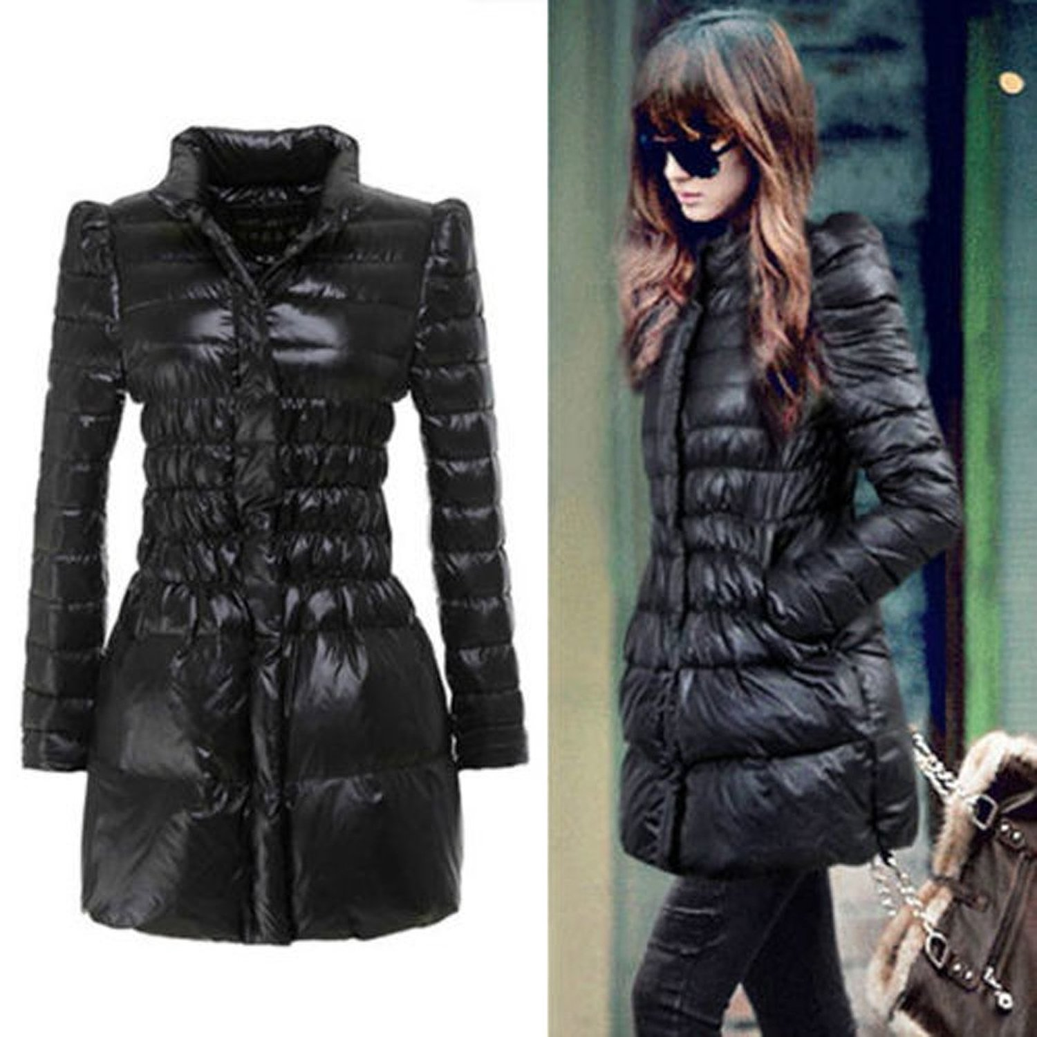 Women&39s Duck Down Coat Slim Puff Sleeve Long Winter Outerwear