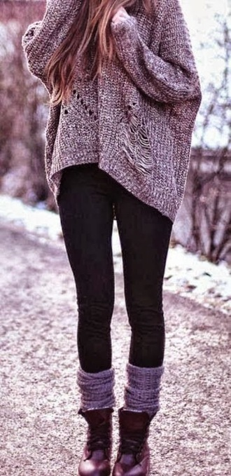 sweater jumper ripped fall outfits cosy distressed sweater