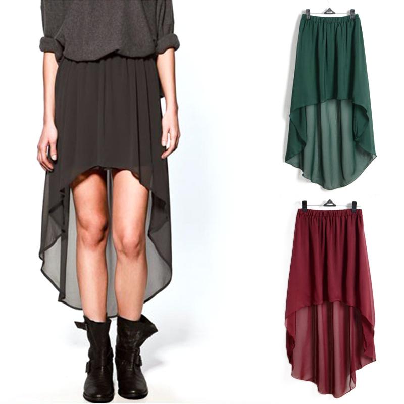 Shipping New Sexy Women Asym Hem Chiffon Mini Skirt Ladies Long ...